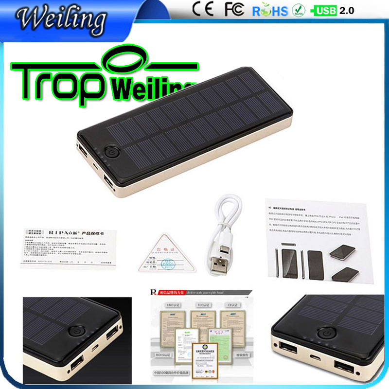 Tropweiling mobile power bank 1.5W-10000mah powerbanks solar power battery pack usb power bank for all phones(China (Mainland))