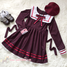 Cute Women's Japanese Preppy Style Sailor Sqaure Collar Long Sleeve Winter Dress Lace Trim Lolita Wine Red&Navy Blue(China (Mainland))