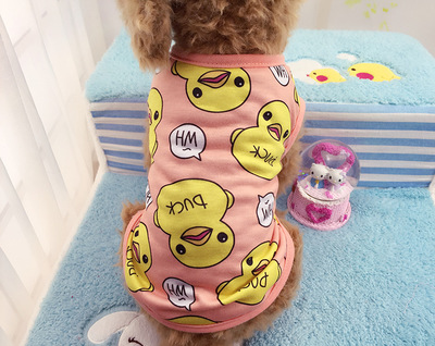 Summer cotton Fashion Sports dog clothes costume Chihuahua Duck pattern pet clothing vest C10(China (Mainland))