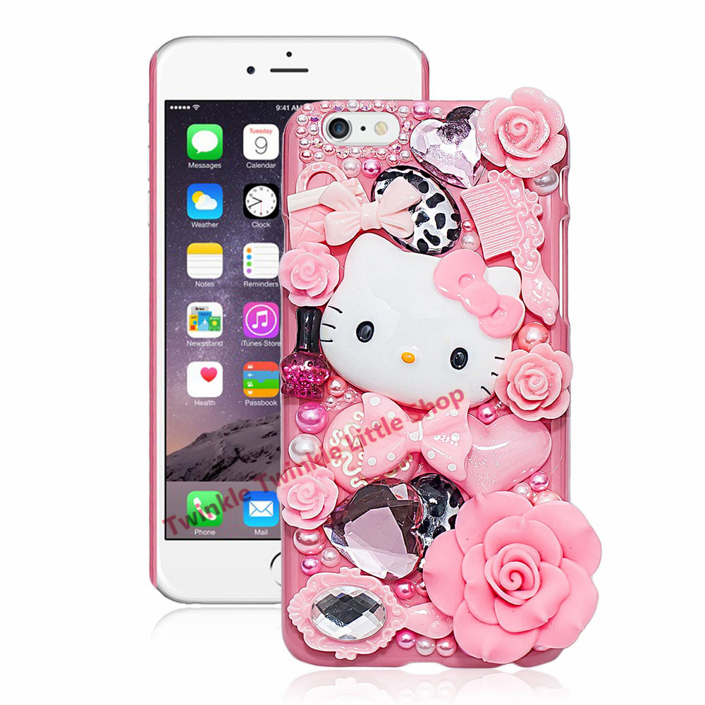 Cute Hello Kitty Crystal Pearl 3D Case For iPhone Back