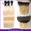 T1b 613 Two Tone Blonde Ombre Malaysian Virgin Hair Straight 3pcs With 13x4 Lace Frontal Human