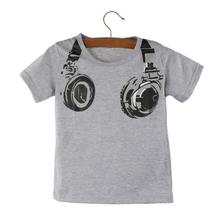 New Fashion Boy Kids Summer Clothing Casual 3D Headphone Short Sleeve Tops Blouses T Shirt Tees Clothes Free Shipping