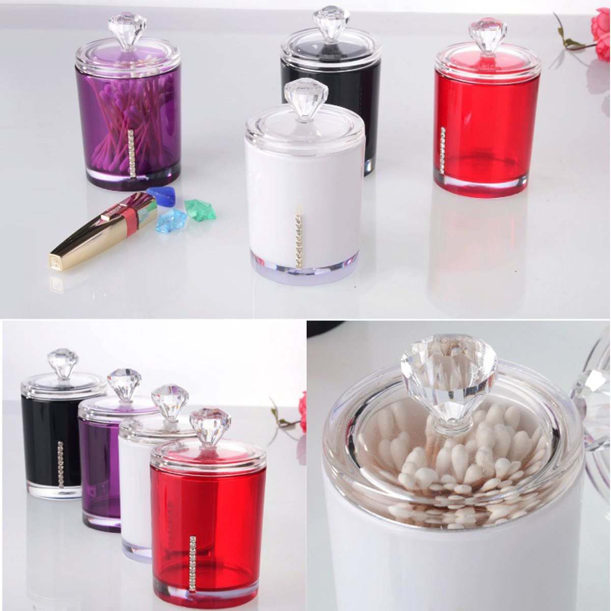 Acrylic Cotton Swab Bud Holder Dispenser Organizer Storage Box Cosmetic Container Home Storage Organization Multi-function(China (Mainland))