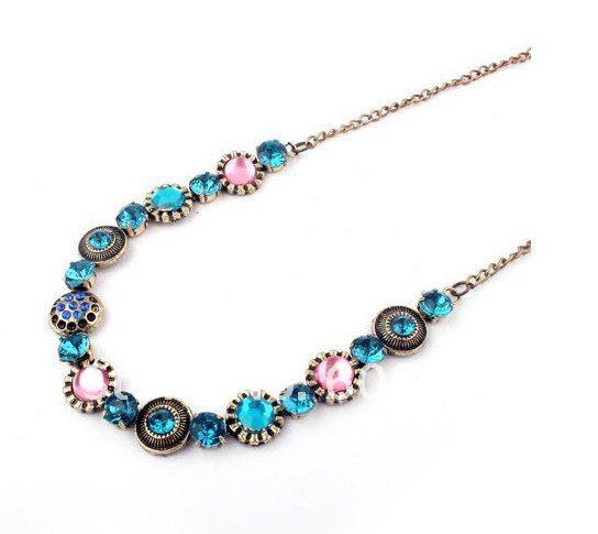 Hotsale Bohemian Style Multicolor Imitation Diamond Stand Necklace Vintage Gemstone Necklace Fashion Jewelry 12pcs/lot