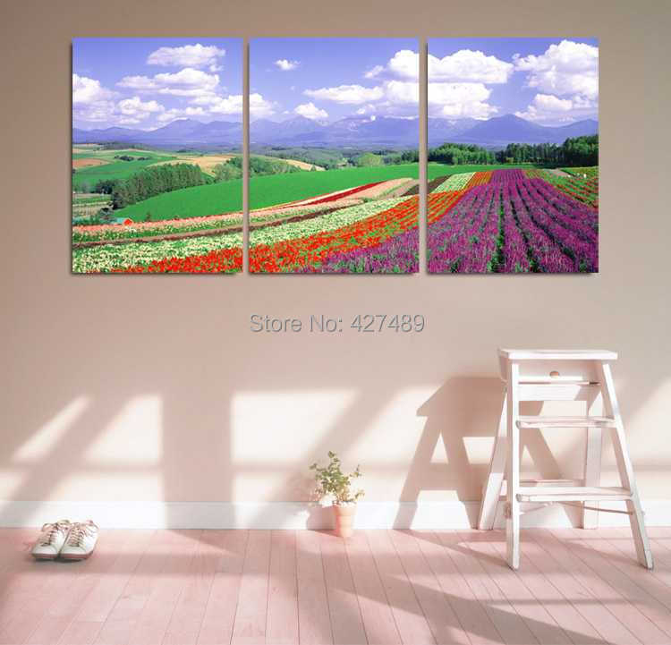 3 Panel modern wall art home decoration frameless oil painting canvas prints pictures P377 lavender manor beautiful scenery - Ann Taylor's Store store