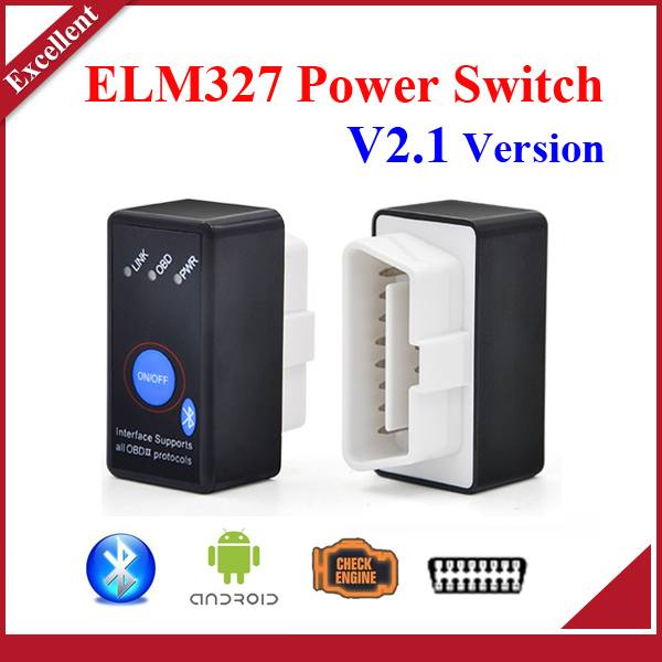 High quality Super Mini Bluetooth ELM327 V2.1 OBD2 Diagnostic Scanner With Power Switch Work on Android Symbian Windows ELM 327(China (Mainland))