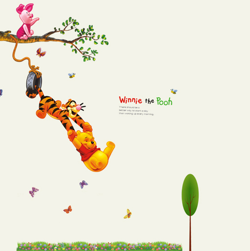free shipping new 2014 winnie the pooh play on a swing wholesale wall stickers butterfly stiker kids wall stickers(China (Mainland))