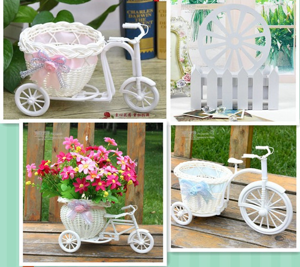 Free shipping 2pcs/lot PE storage rattan tricycle crafts vase artificial flowers basket container wedding decor dining table(China (Mainland))