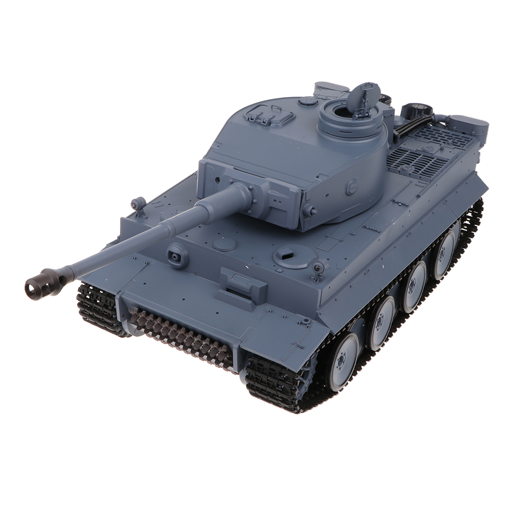 1/16 RC Battle Tank German Tiger I Heavy Panzer Tracked Wheels w/ Turret, Smoking & Sound - WWII Armored Army Vehicle Car Model