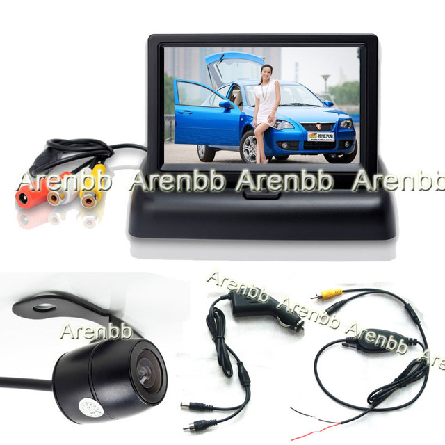 wireless camera parking system 4.3 LCD Foldable LCD car monitor +back up hd camera+cigarate lighter adapter Parking Assistance