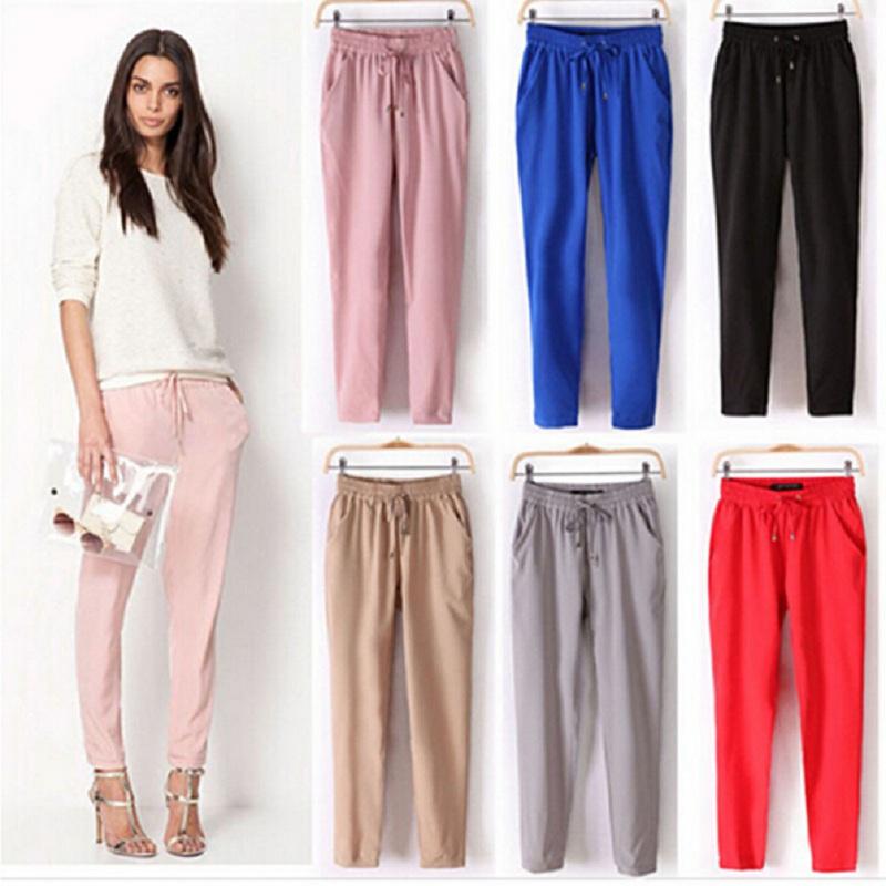 2015 Hot Sale Chiffon Pants Summer Fall Women Pants Casual Harem Pants Drawstring Elastic Waist Pants Plus Size Women Trousers(China (Mainland))