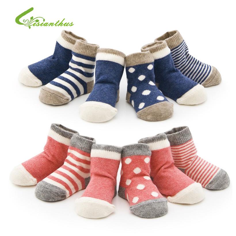 Baby Cotton Socks Toddlers Boys Girls Spring Autumn Socks Stripes & Dots Design Kids Socks 4 pairs/ lot Drop Shipping Wholesale
