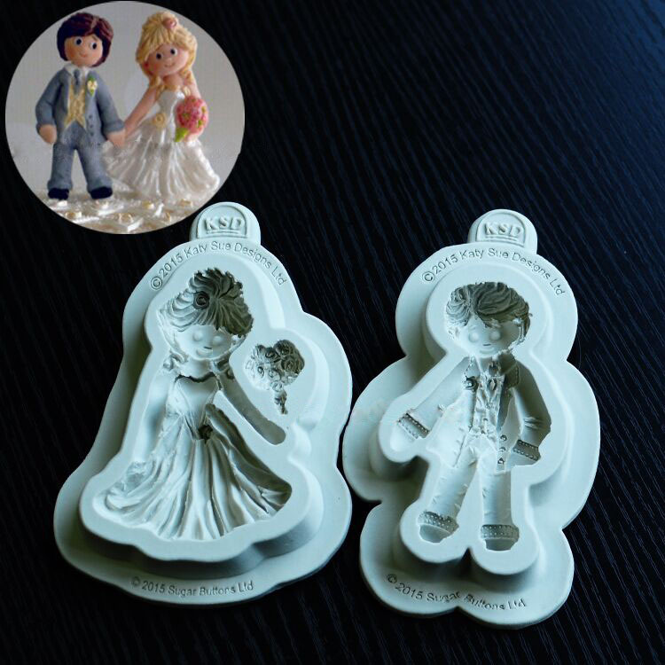 Wedding Cake Decoration Molds : Aliexpress.com : Buy bride double sugar doll silicone mold ...