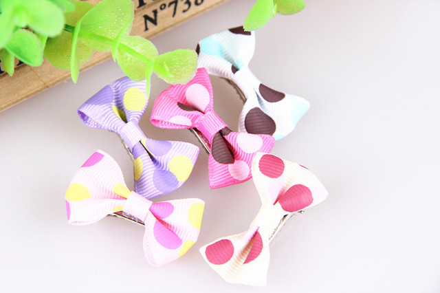 MINI Multicolor Wave Point Dog Bows Pet Hair Bows Handmade Puppy Hair Clip Pet Hair Accessories