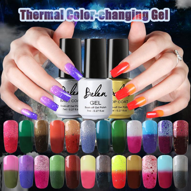 Belen 5pcs Temperature Change Color UV Gel Nail Polish Color Changing Polishes UV Lamp Curing Nail Varnish Color Art On Finger(China (Mainland))