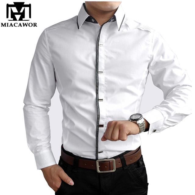 Новый 2016 весна осень хлопок рубашки высокое качество мужские свободного покроя ...