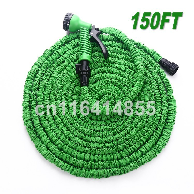 150FT Watering Hoses After Stretched Working Lenght 45M Plastic Connector Green Garden Water Hose+7 set Spray Gun tuyau arrosage(China (Mainland))