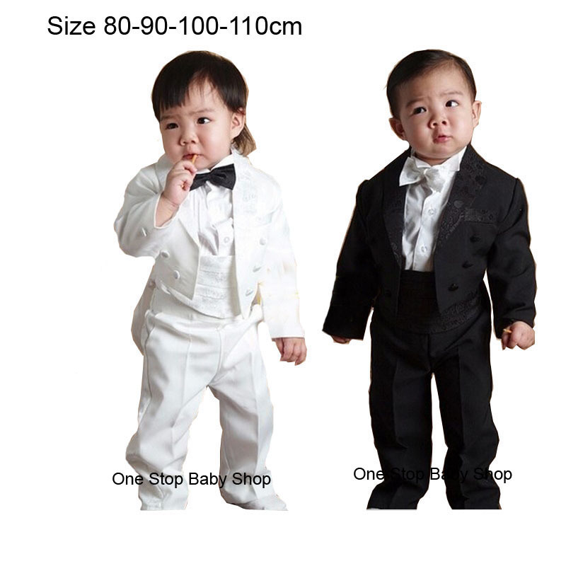 1-4 Years Infant Toddler Boys 5 Piece Tuxedo Clothes Sets Baby Tuxedos Weddings Party Formal Tail White Black Outfit Clothes(China (Mainland))