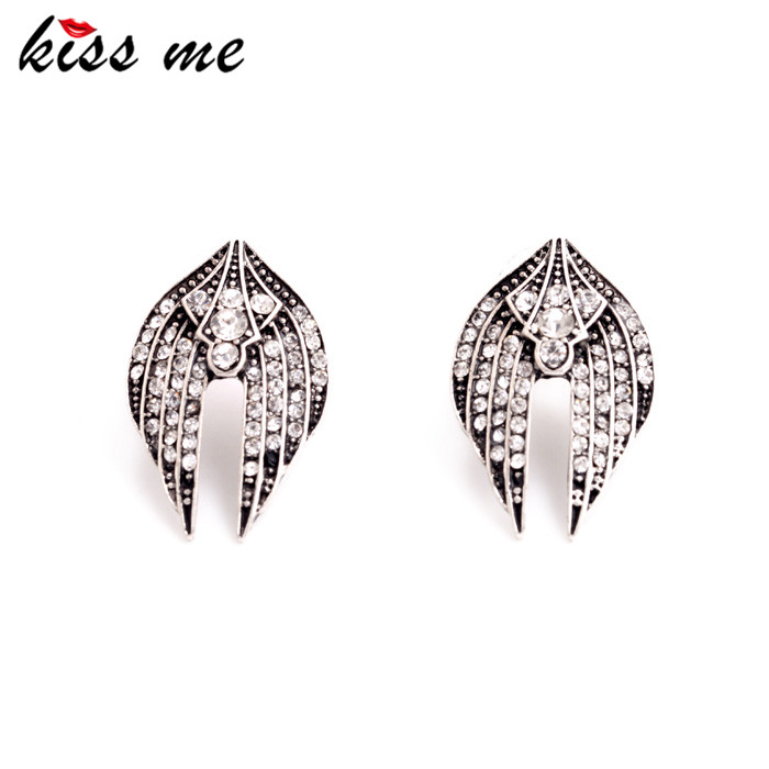 Women Fashion Vintage Ear Accessories Shining Crystal Wings Stud Earrings Jewelry Factory - KISS ME Official Store store