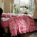 Red jacquard duvet cover set queen king size bedding set for adults 100 cotton satin bed