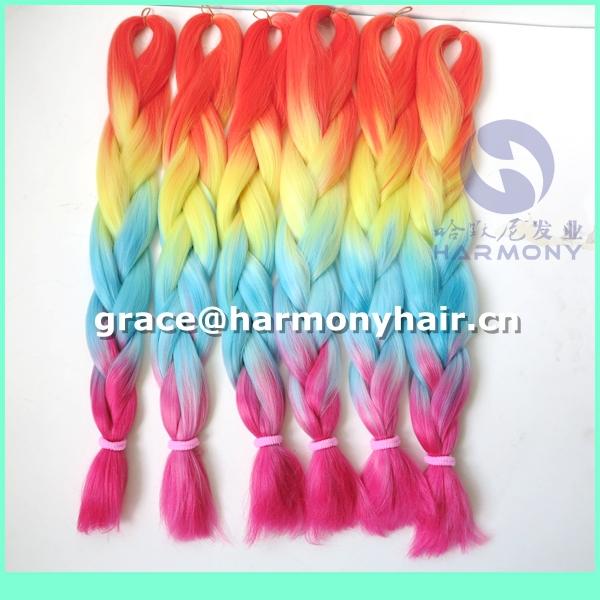 DHL FREE SHIPPING 15packs/lot 24 100g synthetic ombre  rainbow braiding hair orange+yellow+blue+pink 4 tone jumbo braid hair<br><br>Aliexpress