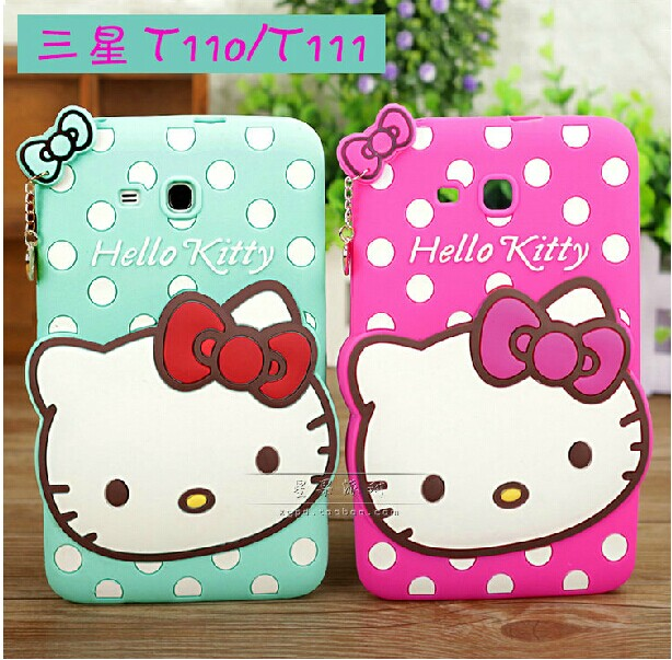 "Newest For Samsung Galaxy Tab 3 Lite 7"" Tablet T110 T111 Case Splashy hello kitty case soft silicone cover free shipping(China (Mainland))"