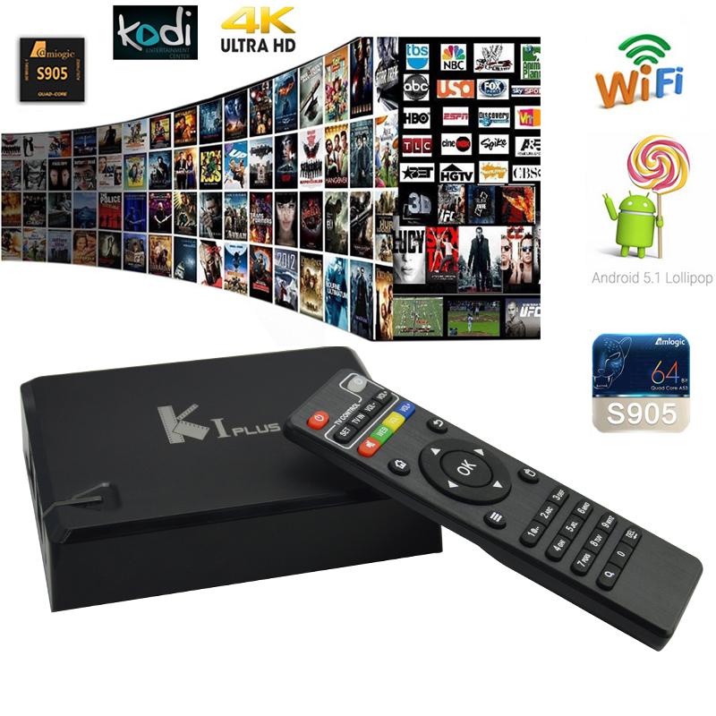 2016 K1/kI Plus Amlogic S905 Android 5.1 Lollipop KI TV Box Quad Core 64-Bit 1GB/8GB H.265 Hardware Decoding 4K UHD WIFI DLNA(China (Mainland))