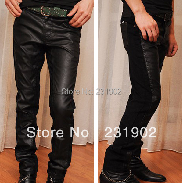 Mens Slim Faux Leather Pants Casual Patchwork Tights Skinny Jeans Trousers - MyLovingStyle store