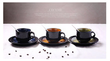Two piece Set European Style Cup Saucer Black Tea Ceramic Coffee Cup Set Advanced Porcelain Drinkware