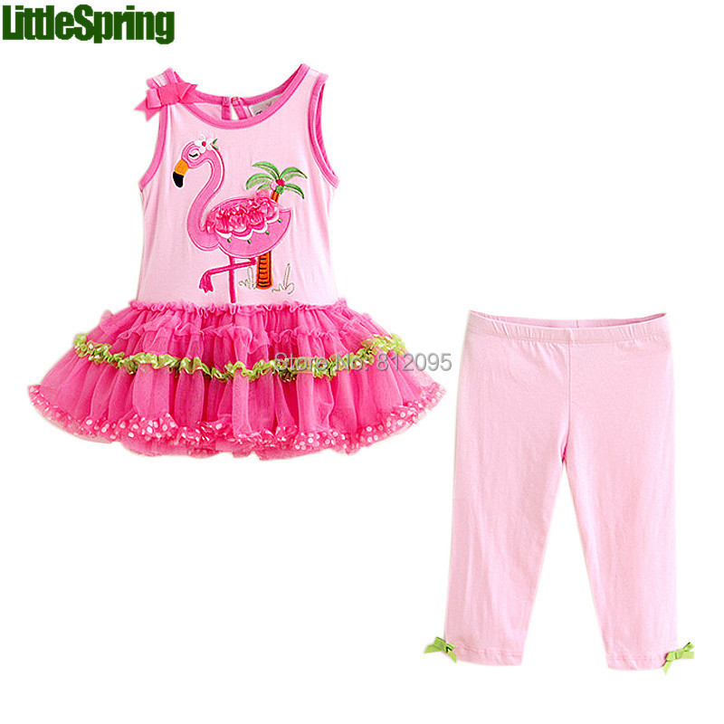 LittleSpring New 2016 summer Girls Clothing Sets Fashion cartoon Kids Clothes Baby Girl Cotton Set - store