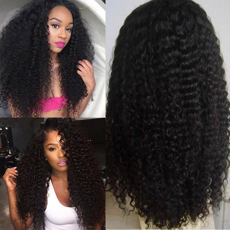 Фотография 7A Glueless Full Lace Human Hair Wigs For Black Women 130% Density Brazilian Virgin Hair Kinky Curly Lace Front Human Hair Wigs