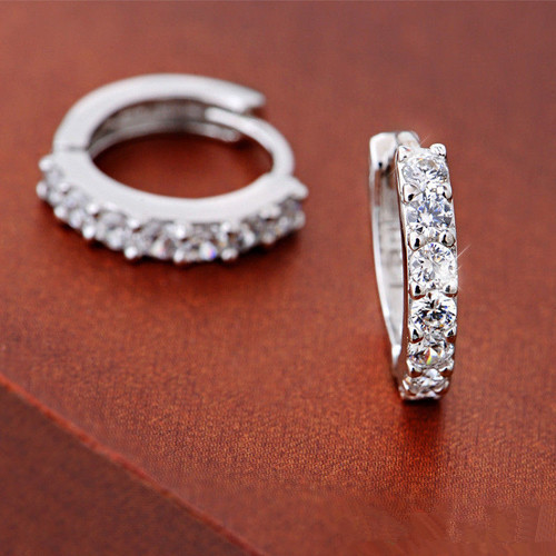 Fashion Jewelry 925 Silver White 13mm Small Round Square Topaz Crystal Cute Zircon Earring Women Hoop Huggie Earrings E145 - Bling Beauty Co.,Ltd store