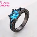 AMORUI Fashion Wedding Hollow Rings for Women Vintage Blue CZ Stone Ring Bague Femme Black Gold