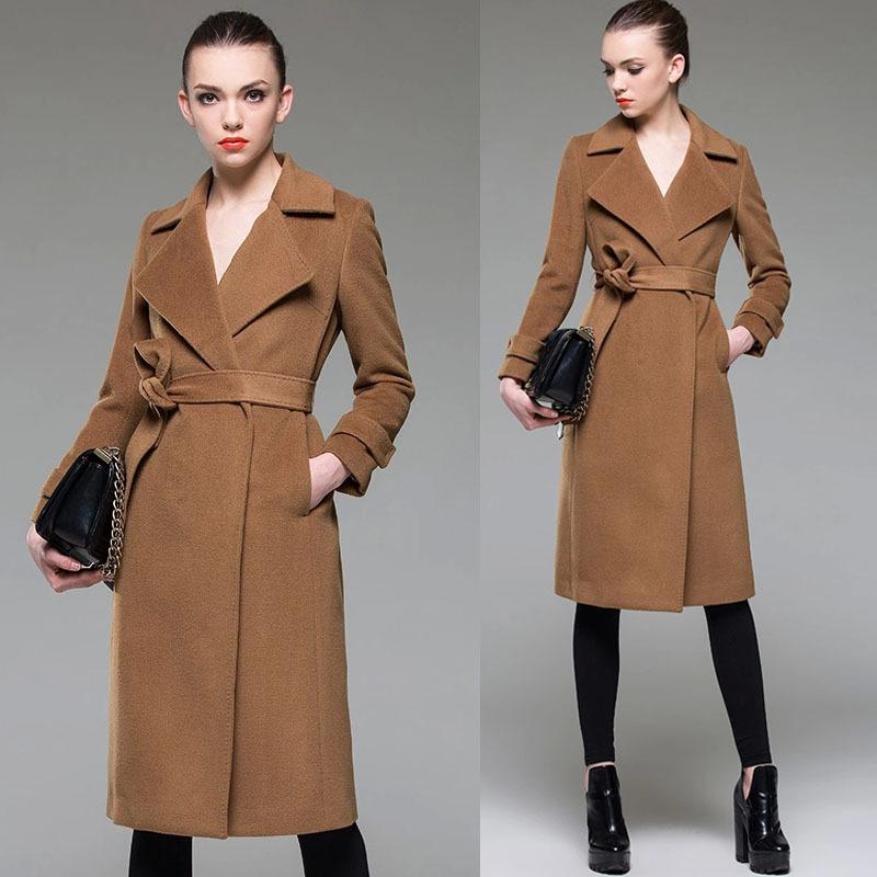 2015 Fall Winter Womens Elegant Fashion European Style Camel Long Woolen Coat Female Slim Turn Suit Collar Belt Wool Coats  -  Jeanie Deng's store store
