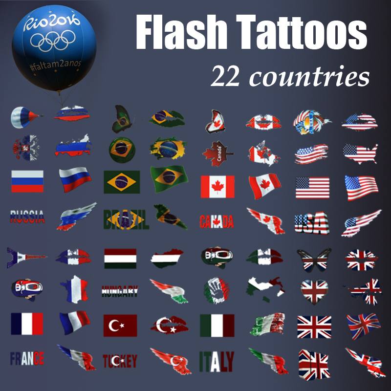 2016 fashion Olympic Flash tattoo football basketball fans country tattoo Temporary Tattoo for sport fans Flag tattoo(China (Mainland))