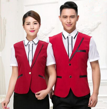 short sleeve hotel waiter uniforms hotel uniform reception uniform hotel service uniform china restaurant clothes(China (Mainland))