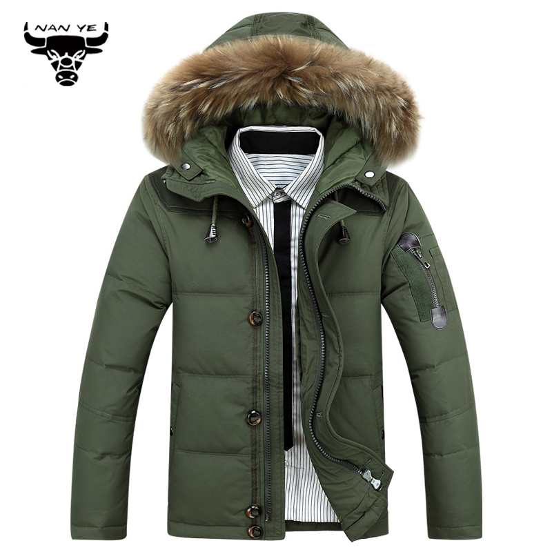 2015 Thick Warm Duck Down Winter Jacket Men high quality Fur Collar Winter Parkas Hooded Coat Outdoor Down-Jacket