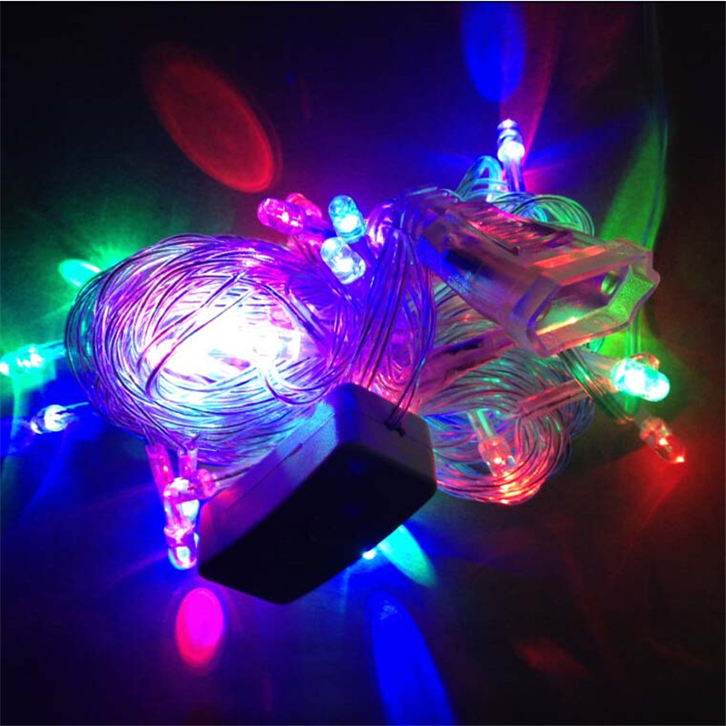 Colorful String Lights : Colorful led string lights 10M 50leds AC220V EU plug outdoor decoration light christmas/fairy ...