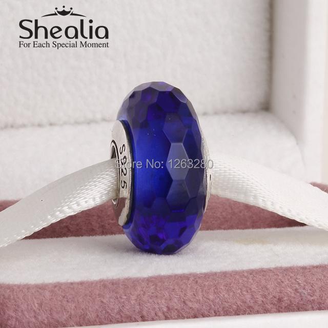 2015 Новый подлинный стерлингового серебра 925 синий грановитая муранского стекла бусы подходит известного бренда diy шарм браслеты Ht320