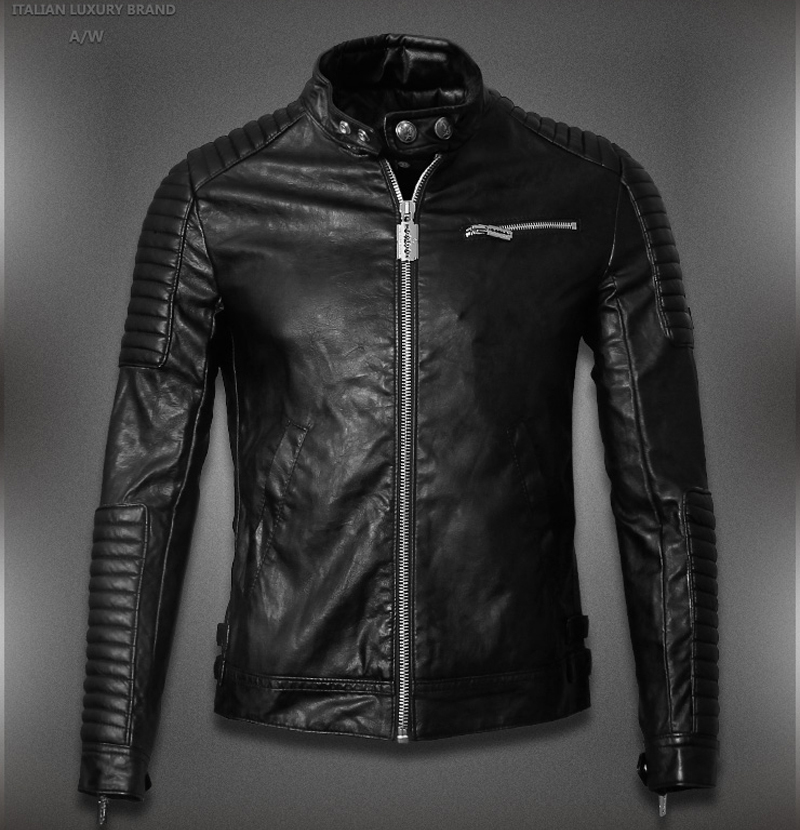 2015 Hot Sale Mens Leather Jackets And Coats Jaqueta De Couro Masculina Famous Brand Men Designer Leather Ribbed Biker Jacket(China (Mainland))