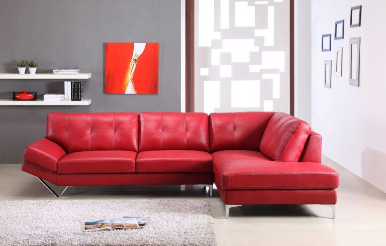 l shape sofa set designs sectional sofa with bonded leather Red for living room(China (Mainland))