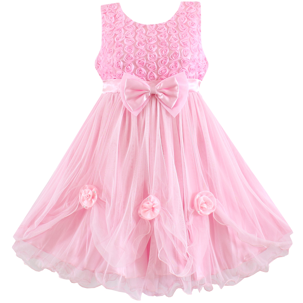 2016 Girl Dress Pink Flower Bow Lace Party Wedding Pageant ... - photo #30
