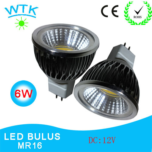 LED  Spotlight 6W MR16 COB (2Pcs/lot) High Power White Warm/ Cold White Lamps DC12V with Free Shippng and 2 years Warranty(China (Mainland))