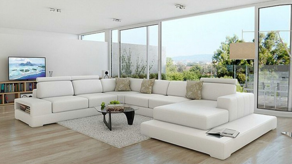 U shape living room leather couch in living room sofas for Sofas modernos en l