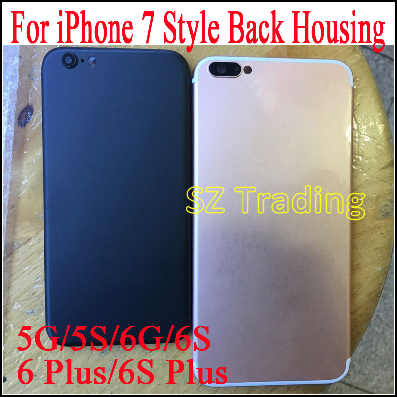iPhone 5 5S 6 6S 6plus Plus Aluminum Metal Black Colorful Back Cover Housing Battery Door Replacement like 7 style - Shenzhen Trading store