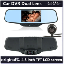 "ual Lens Car Rearview DVR Mirror Camera Full HD 1080P 30FPS 12.0MP CMOS 4.3""LCD+170 Degree Wide Angle Rear Camera(China (Mainland))"