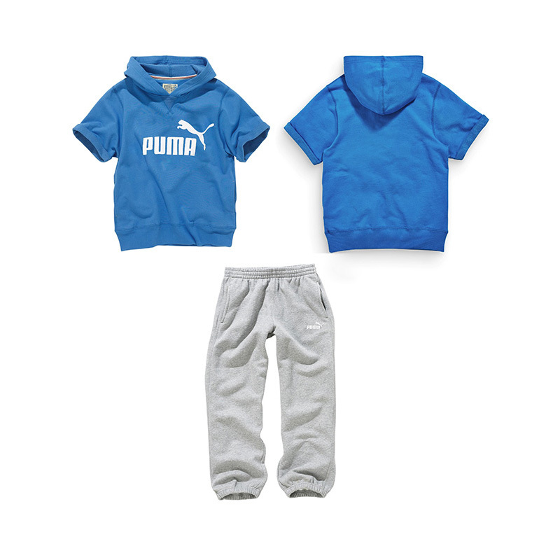 Kids boys clothing 2015 new design kids summer clothing sets blue short sleeves jacket with hat gray pants cool sportswear(China (Mainland))