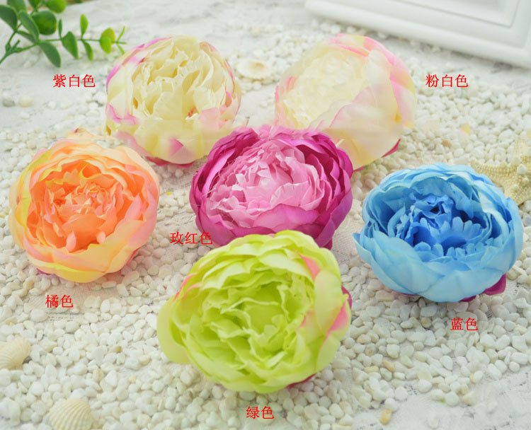artificial flowers good simulation package heart rose peony flower bud floral DIY hat headdress head(China (Mainland))