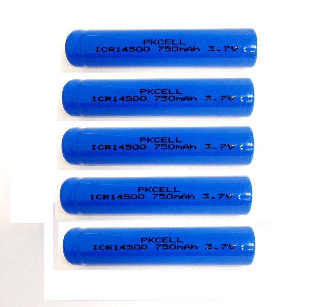 5PCS ICR14500 14500 750mAh 3.7v rechargeable li ion Battery(China (Mainland))