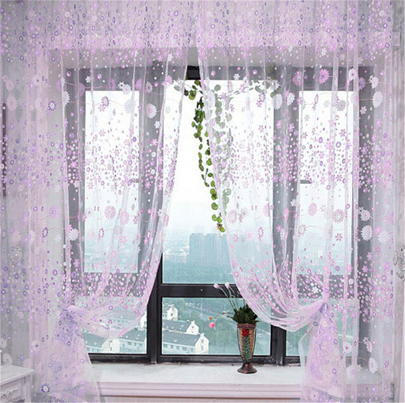 Flower Curtains Sheer Drapes For Bedroom Living Room Curtains Blinds Voile Tulle Kitchen Curtain(China (Mainland))